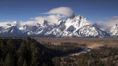 Cloudy Day Snake River Jagged Peaks Grand Teton Wyoming — Stock Photo