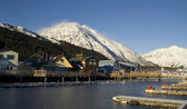 Winter Freeze Resurrection Bay Seward Alaska Docks Marina Boardwalk Mountain Background — Stock Photo
