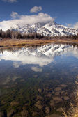 Snake River Reflection Cloud Cover Jagged Peaks Grand Teton Wyoming Vertical — Stock Photo