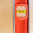 Old Door Gets Installed Leveled up By Long Orange Level Tool — Stock Photo