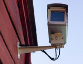 Enclosed Professional Security System Video Camera Mounted Outside — Stock Photo