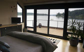Home Interior Bedroom Sliding Glass Doors Deck Harbor Boat Nautical — Stock Photo