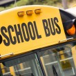 School Bus Child Carrier Elementary Education Transportation Flashing Lights — Stock Photo
