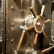 Stock Photo: Front of Bank Vault Massive Door Handle Combination Lock Dial