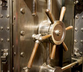 Front of Bank Vault Massive Door Handle Combination Lock Dial — Zdjęcie stockowe