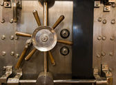 Huge Inenetrable Vintage Bank Vault Massive Handle Combination Dial — Стоковое фото