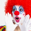 Female Clown entertainer working her routine — Stock Photo