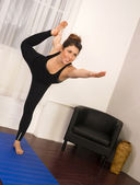 Young Attractive Woman Balances Standing Pose Yoga Practice Dance — Stock Photo