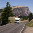 Travel Truck Recreational Vehicle Touring Countryside Two Lane Highway — Stock Photo #33616101