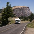 Travel Truck Recreational Vehicle Touring Countryside Two Lane Highway — Stock Photo