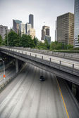 Four Lane Highway Interstate 5 Carries Automobile Travelers Under City — Stock Photo