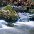 Long Exposure Water Flowing Down Stream Moss Covered Rocks — Stock Photo