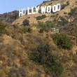 Hollywood Sign High on Hill Wooden City Name California — Stock Photo
