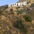 Stock Photo: Hollywood Sign High on Hill Wooden City Name California