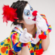 Clown Yelling Close Up Portrait Bright Beautiful Female Performer — Stock Photo
