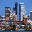 Seattle Skyline Downtown Office Buildings Nautical Transportation — Stock Photo