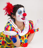 Clown Wondering Close Up Portrait Bright Beautiful Female Performer — Stock Photo