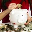 Stock Photo: WomStuffing US Currency Coins Piggy Bank Cash Savings