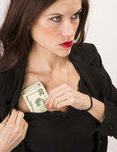 Woman Wearing Black Stuffs Twenties Bills Money Cash Bra — Stock Photo