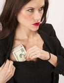 Woman Wearing Black Stuffs Twenties Bills Money Cash Bra — Stock Photo