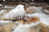 Rushing River Frozen Water Ice Rocks Winter Landscape Moving Stream — Stock Photo