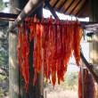 Stock Photo: King Salmon Fish Meat Catch Hanging Native AmericLodge Drying
