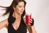Thumbs Up Attractive Athletic Female Expressing Positively Food Fruit Smoothie — Stock Photo