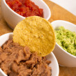Chips Salsa Refried Beans Guacamole Nachos Food Fresh Appetizer — Stock Photo