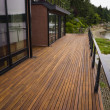 Wood Plank Deck Patio Beach Water Contemporary Waterfront Home — Stock Photo