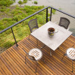 Wood Plank Deck Patio Beach Water Stainless Steel Dining Set — Stock Photo
