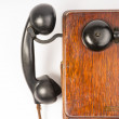 Vintage Obsolete Oak Telephone Set Bakelite Handset Wallbox Ring — Стоковое фото