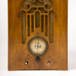 Dirty Old Antique Wood Console Vintage Radio Missing Knobs — Stock Photo