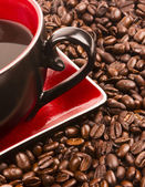 Dark Brown Roasted Coffee Seeds Beans Food Drink Ingredient Cup — Stock Photo