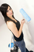 Attractive Handy Woman Using Paint Roller Blue Paint Project — Stock Photo