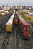 Railroad Switching Yards Rails Cars Boxcars Engine Locomotive Downtown — Stock Photo