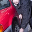 Automotive Technician Auto Mechanic Loosens Lug Nut Front Tire — 图库照片 #36950409