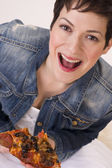 Excited Attractive Woman Eating Hot Pizza Lunch White Background — Stock Photo