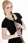 Pretty Blond Woman Playing Clarinet Musical Performance White — Stock Photo