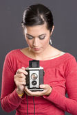 Vintage Photographer Attractive Woman Holding Camera Waist Finder — Stock Photo