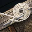 Stock Photo: Beautiful Swirled Curled Rope Boat Bow Line Nautical Tie Down