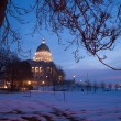 Stock Photo: Winter Deep Freeze Sunrise Landscape Utah State Capital Architecture