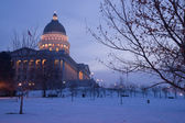 Winter Deep Freeze Sunrise Landscape Utah State Capital Architecture — Stock Photo