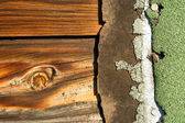 Knotty Pine Board Weathered Wood Asphalt Shingle Roofing Siding — Stock Photo