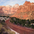 Highway 9 Zion Park Blvd Curves Through Rock Mountains — Stock Photo #38635681