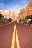 Highway 9 Zion Park Blvd Road Buttes Altar of Sacrifice — Stock Photo