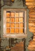 Run Down Ruin Boarded Up House Plywood Window Panes — Stock Photo