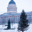 Winter Deep Freeze Sunrise Landscape Utah State Capital Christmas — Zdjęcie stockowe