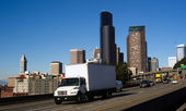 Interstate 5 Highway Cuts Through Downtown Seattle Skyline Modern Transportation — Stock Photo