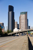 Interstate 5 Highway Cuts Through Downtown Seattle Skyline — Stock Photo