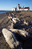Discovery Park West Point Lighthouse Puget Sound Seattle Nautical — Stock Photo